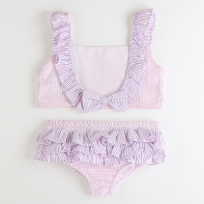 Two-Piece Ruffle Swimsuit - Light Pink & Lavender Stripe Seersucker - Stellybelly