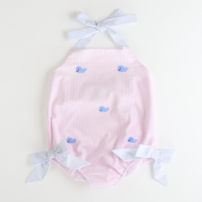 Embroidered Blue Whales Swimsuit - Light Pink Stripe Seersucker
