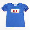 Smocked Apples Ruffle Top - Royal Blue
