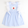 Smocked Apple Pinafore - Light Blue Check
