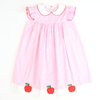 Appliquéd Apples Collared Dress - Light Pink Check Seersucker