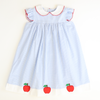 Appliquéd Apples Collared Dress - Light Blue Check Seersucker