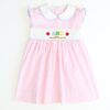 Smocked Apples & ABC Collared Dress - Light Pink Stripe Seersucker