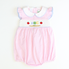 Smocked  Apples & ABC Collared Bubble - Light Pink Stripe Seersucker