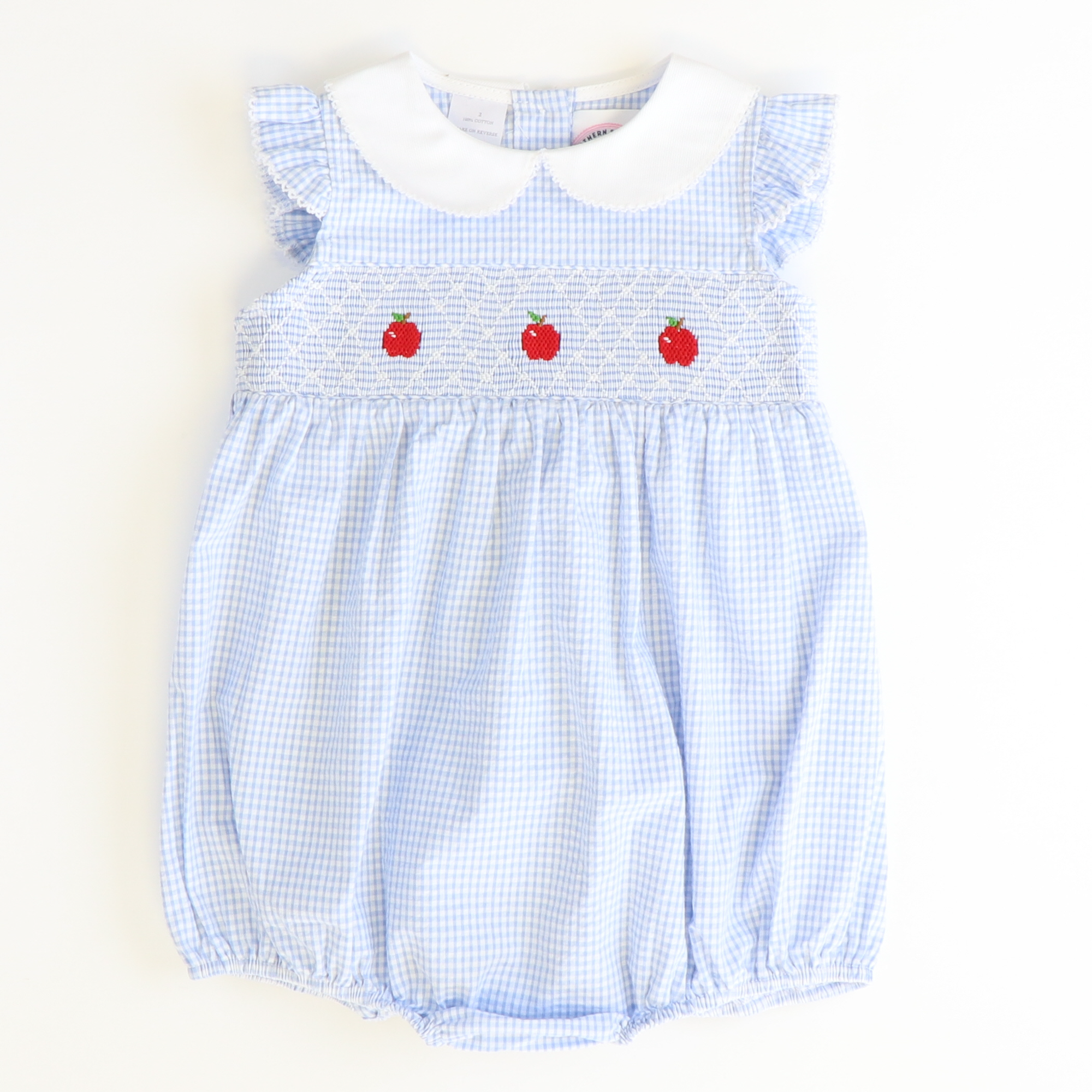 Geo Smocked Apples Collared Girl Bubble - Light Blue Check Seersucker - Stellybelly