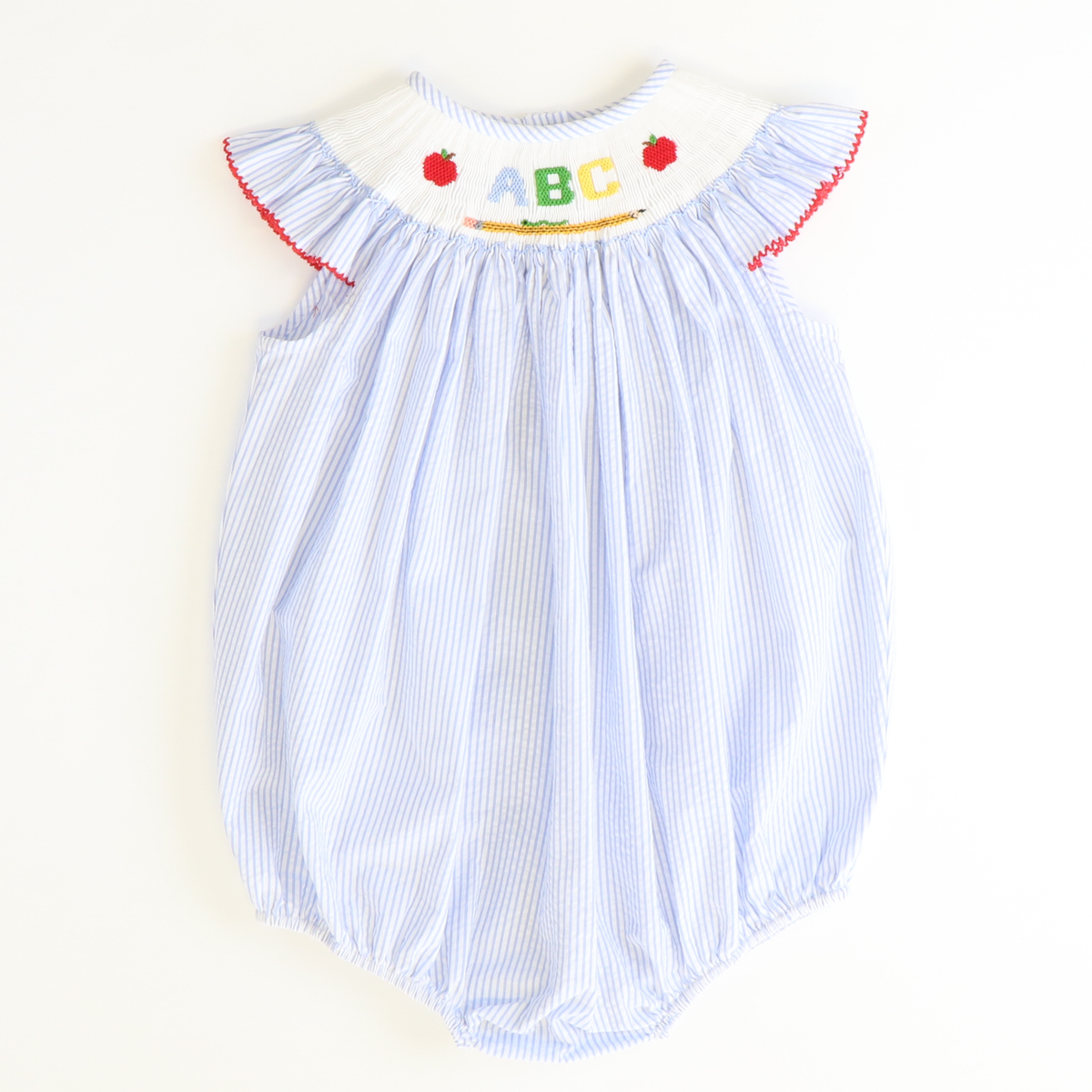 Smocked  Apples & ABC Bubble - Light Blue Stripe Seersucker