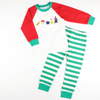 Embroidered Christmas Train Ride Pajama Set