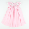 Smocked Geo Bow Bishop - Pink Pique