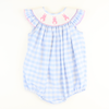 Smocked Cotton Tail Bunny Bubble - Light Blue Check