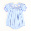 Smocked Bunny Silhouette Girl Bubble - Light Blue Pique