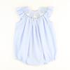 Smocked Easter Bunnies Blue Mini Gingham Bubble