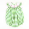 Smocked Cotton Tail Bunny Bubble - Green Check