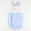 Embroidered Bunny Face Blue Gingham Girl Bubble