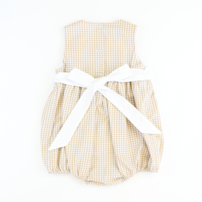 Uptown Tie Back Girl Bubble - Tan Check