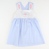 Embroidered Bunny Face Blue Gingham Dress