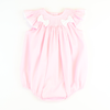 Smocked Geo Bow Bubble - Pink Pique