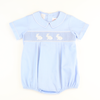 Smocked Bunny Silhouette Boy Bubble - Light Blue Pique