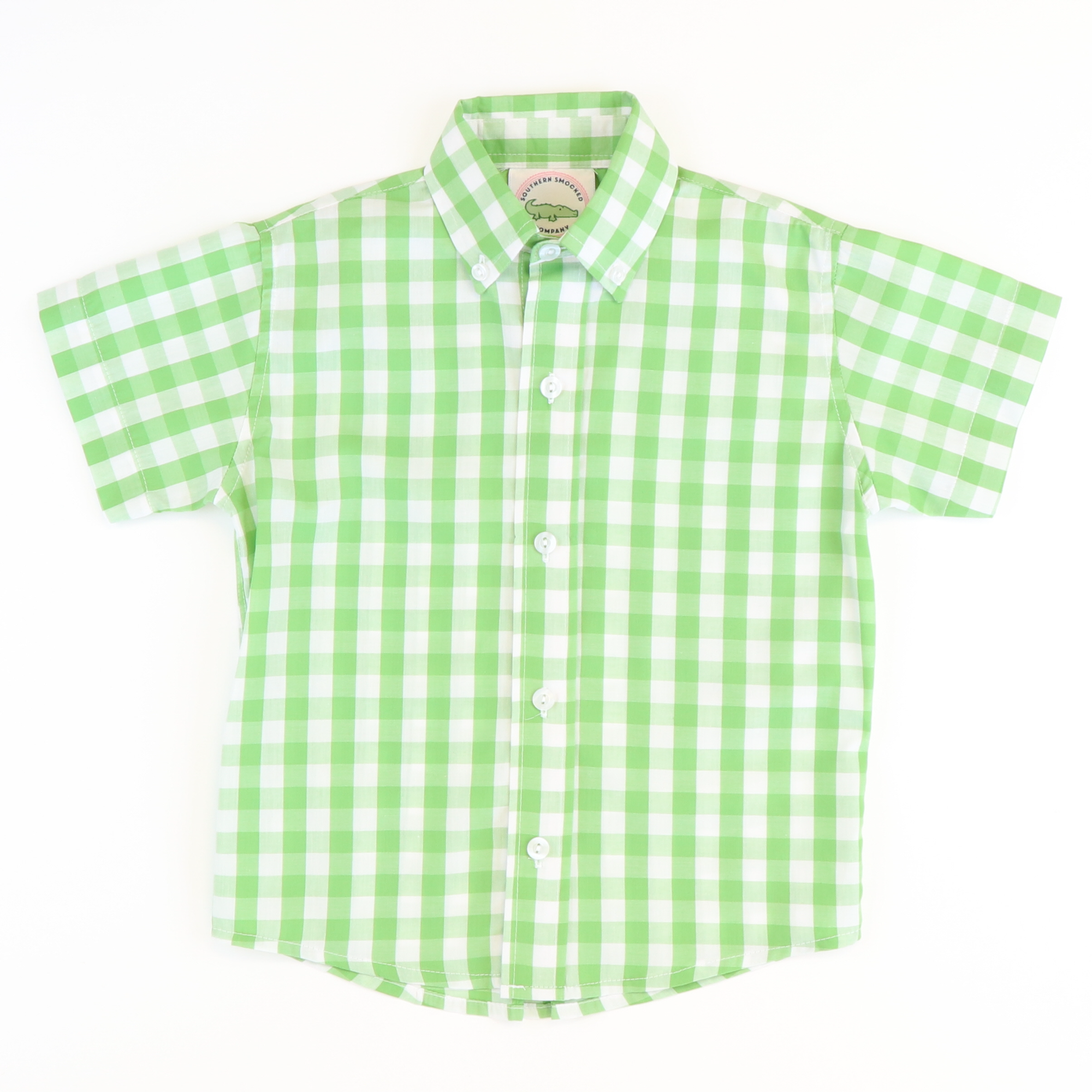 Green Check Button Down Shirt