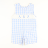 Smocked Cotton Tail Bunny Shortall - Light Blue Check