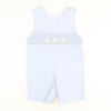 Smocked Easter Bunnies Blue Mini Gingham Shortall
