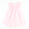 Smocked Bunny Silhouette Bishop - Light Pink Pique