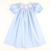 Smocked Bunny Silhouette Bishop - Light Blue Pique