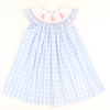 Smocked Cotton Tail Bunny Bishop - Light Blue Check