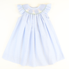 Smocked Easter Bunnies Blue Mini Gingham Bishop