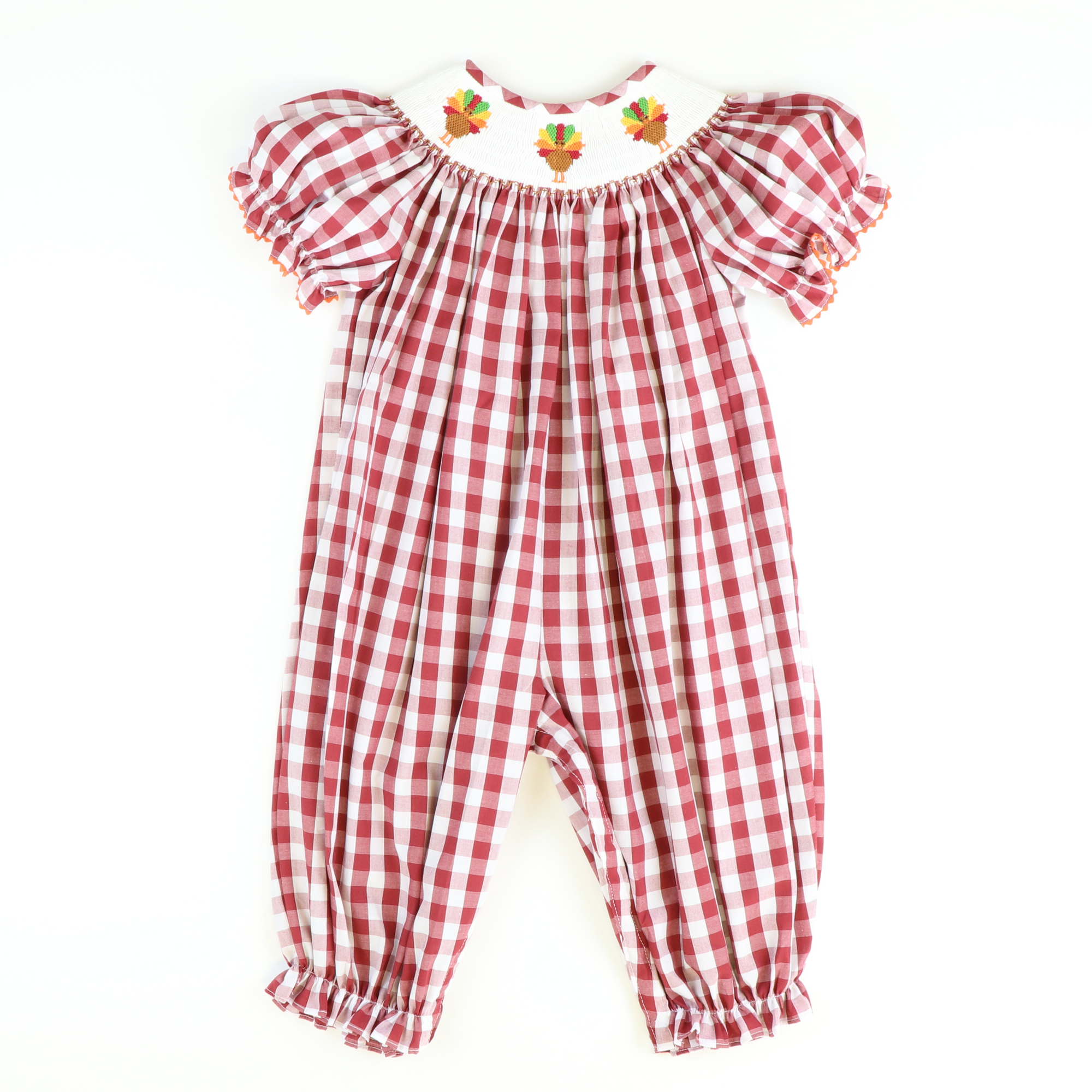 Smocked Turkeys Girl Long Bubble - Burgundy Check