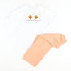 Smocked Turkey Orange GIngham Shirt & Pants Set