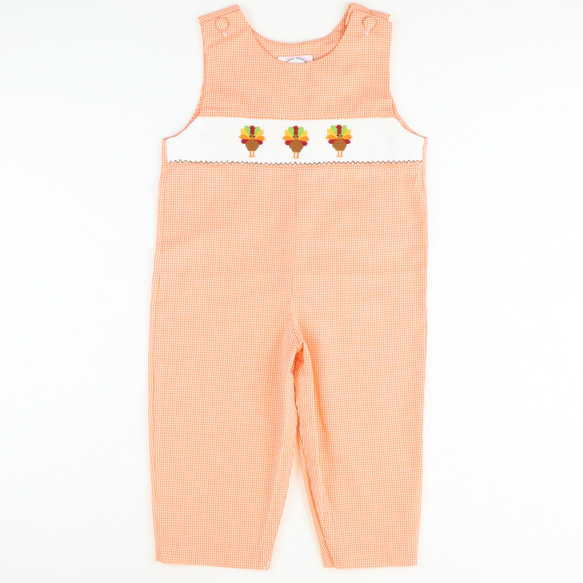 Smocked Turkeys Longall - Orange Mini Gingham