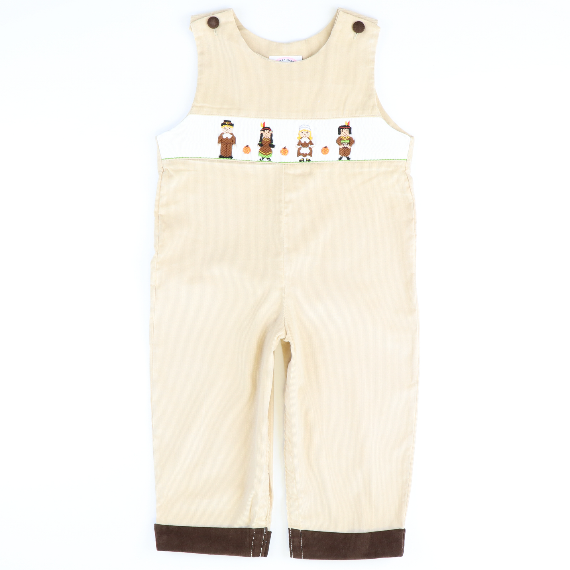 Smocked Thanksgiving Friends Longall - Tan Corduroy