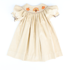 Smocked Turkey & Pumpkins Corduroy Bishop