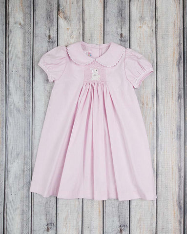Smocked White Bunny Collared Dress - Girls - Stellybelly - 1