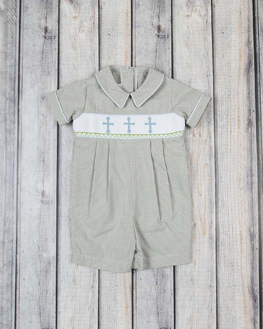 Smocked Gray Cross Shortall - Boys - Stellybelly - 1