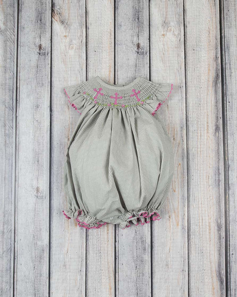 Smocked Gray Cross Bubble - Girls - Stellybelly - 1