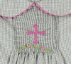 Smocked Gray Cross Collared Dress