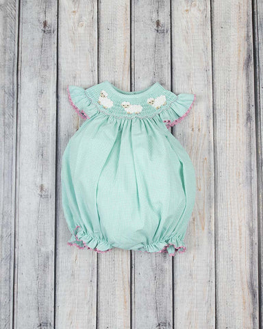Smocked Little Lamb Bubble - Girls - Stellybelly - 1