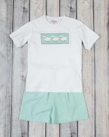 Smocked Little Lamb Short Set - Boys - Stellybelly - 1