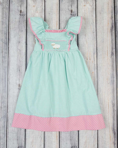 Smocked Little Lamb Peasant Dress - Girls - Stellybelly - 1