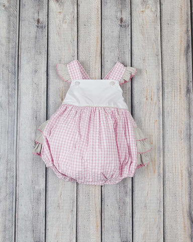 Pink Check Ruffle Bubble - Girls - Stellybelly - 1