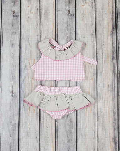 Pink Check Two Piece Swimsuit - Girls - Stellybelly - 1
