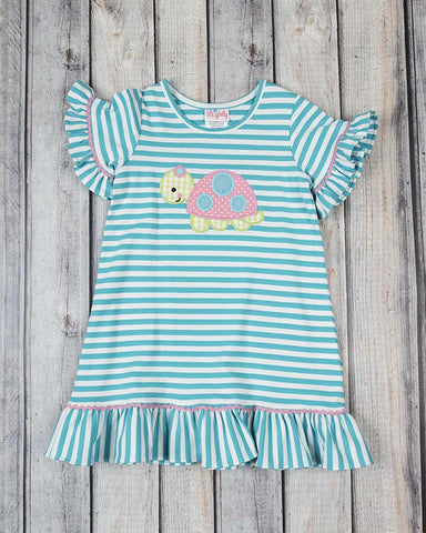 Turquoise Turtle Applique Ruffle Dress - Girls - Stellybelly - 1