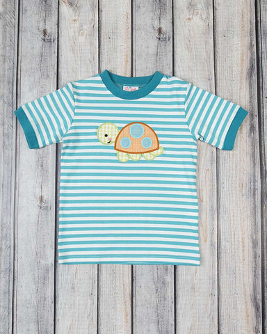 Turquoise Turtle Applique T-Shirt - Boys - Stellybelly - 1