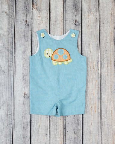 Turquoise Turtle Applique Jon Jon - Boys - Stellybelly - 1