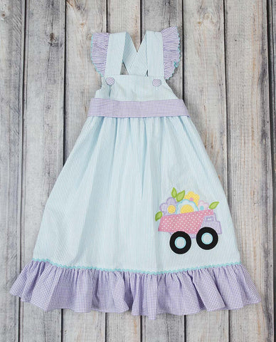 Flower Dump Truck Applique Jumper Dress - Girls - Stellybelly - 1