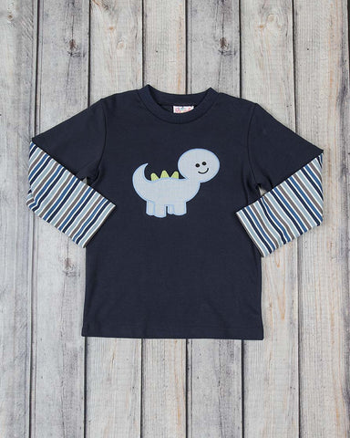 Blue Dino Applique LS T-Shirt - Boys - Stellybelly - 1
