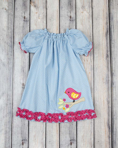 Birdie Branch Applique Stella Puff Sleeve Dress - Girls - Stellybelly - 1