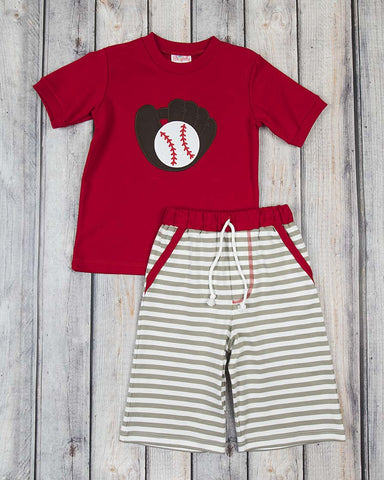 Baseball Glove Applique Knit Short Set - Boys - Stellybelly - 1