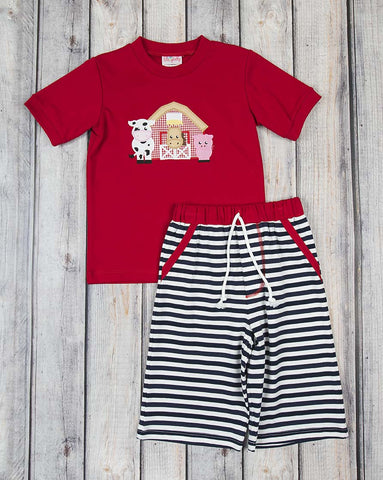 Barnyard Applique Knit Short Set - Boys - Stellybelly - 1